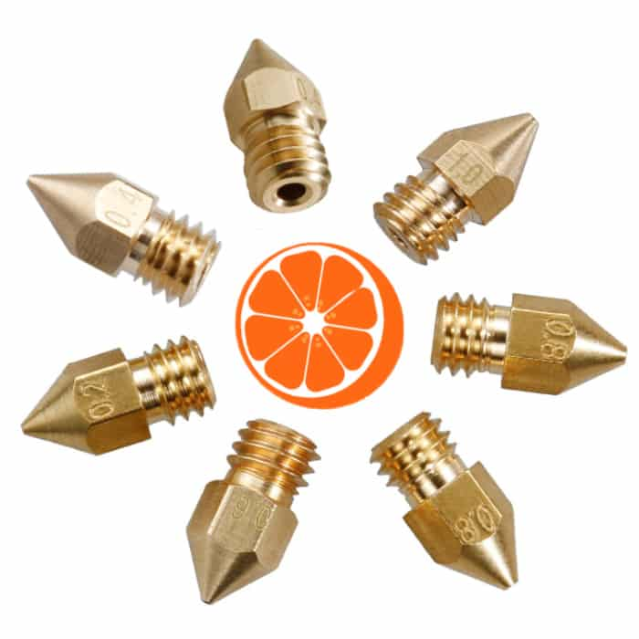 MK8 1.75 messing Nozzle set XL HotOrange3D